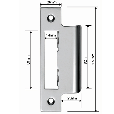 eurospec long lipped strike plate for easit contract lock