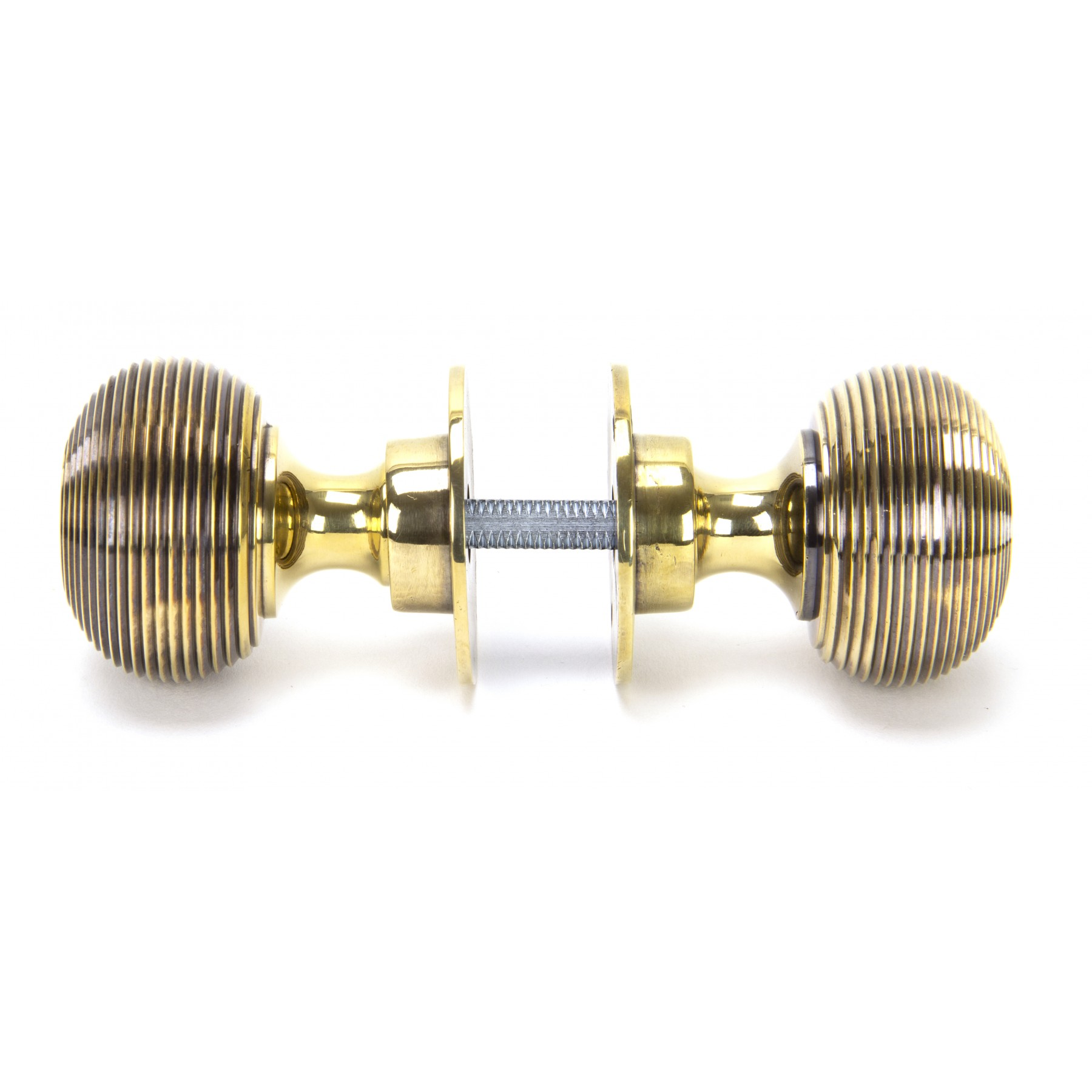 83633 Aged Brass Beehive Hollow Mortice/Rim Knob Set