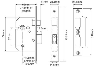 3-Lever Bathroom Lock