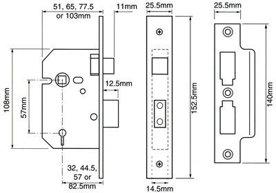 Strike Plate Only for Union 3-Lever Mortice Sash Lock