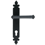 From The Anvil 33172 - Black Tudor Espag Lever on Euro Lock Backplate - 92mm Centres