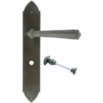 From The Anvil 33272 - Beeswax Gothic Lever Bathroom Lock on Backplate Set