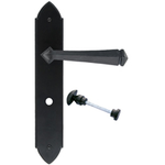 From The Anvil 33274 - Black Gothic Lever Bathroom Lock on Backplate Set