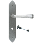 From The Anvil 33604/B - Pewter Patina Gothic Lever Bathroom Lock on Backplate Set