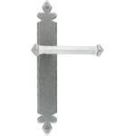 From The Anvil 33609 - Pewter Patina Tudor Lever Latch on Backplate Set