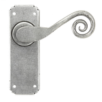 From The Anvil 33616 - Pewter Patina Sprung Monkeytail Lever Latch on Backplate Set
