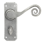 From The Anvil 33617 - Pewter Patina Sprung Monkeytail Lever on Bathroom Backplate Set