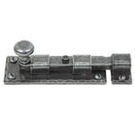 From The Anvil 33720 - Pewter Patina Straight Knob Bolt 4 inch - Inward opening