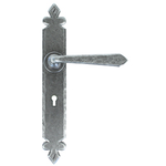 From The Anvil 33730 - Pewter Patina Cromwell Sprung Door Lever on Lock Backplate
