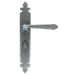 From The Anvil 33732 - Pewter Patina Cromwell Sprung Door Lever on Bathroom Backplate
