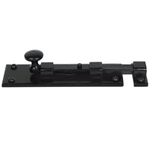 From The Anvil 33980 - Black Straight Knob Bolt 6 inch - Inward opening