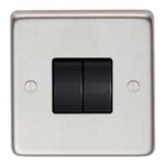From The Anvil 34201/1 - Satin Stainless 10 Amp Two Way Double Switch