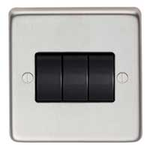 From The Anvil 34202/1 - Satin Stainless 10 Amp Two Way Triple Switch