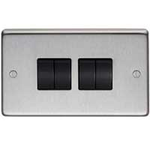 From The Anvil 34203/1 - Satin Stainless 10 Amp Two Way Quad Switch