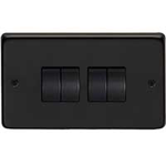 From The Anvil 34203/2 - Matt Black 10 Amp Two Way Quad Switch
