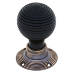From The Anvil 83574 - Ebony Wooden Beehive Mortice/Rim Knob Set