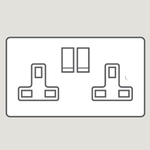 Wandsworth A924/D - 2-Gang 13 Amp Switched Socket Interior Rear Entry Single Pole Dual Earth