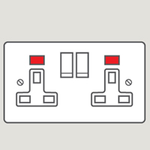 Wandsworth P356 - Classic Double Switched 3-Pin Socket Outlet Cover Plate Only with Neon Indicator