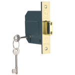Yale PM562-PB-80 - PM562 British Standard 5-Lever Deadlock: 3 inch Polished Brass