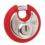 Sterling Locks SPL100P/Red - Stainless Steel Disk Padlock 70mm - Red Bumper