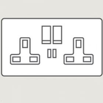 Wandsworth A9157 - Infinity 2-Gang 13 Amp Switched Socket with Twin USB Charger Interior