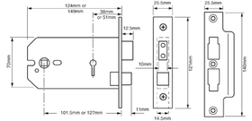 Union J2077-5 - 3-Lever Horizontal Mortice Sash Lock - 5 inch/124mm