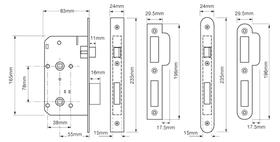 Union JL2C27 - JL2C27 Mortice Bathroom Lock - 55mm backset