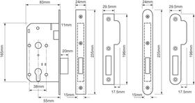 Union JL2C22 - JL2C22 Euro Profile Mortice Deadlock - 55mm backset