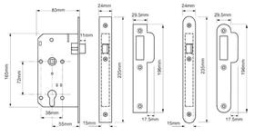 Union JL2C24 - JL2C24 Euro Profile Mortice Nightlatch - 55mm backset