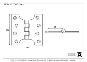 From The Anvil 33043 - Black Ball Bearing Parliament Hinge 4 x 4 inch