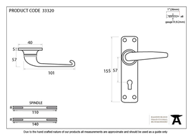 From The Anvil 33320 - Black Smooth Lever Lock on Backplate Set