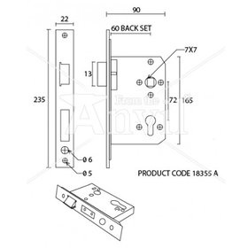 From The Anvil 91097 - Euro DIN Sash Lock 72mm centres - SSS