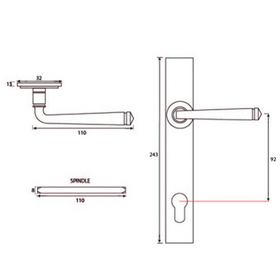 From The Anvil 33123 - Black Avon Espag Lock Set on Backplate 92mm