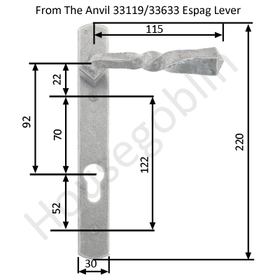 From The Anvil 33633 - Pewter Patina Narrow Espag Lever Lock Set on Backplate 92mm