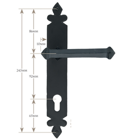 From The Anvil 33766 - Pewter Patina Tudor Espag Lever on Euro Lock Backplate - 92mm Centres