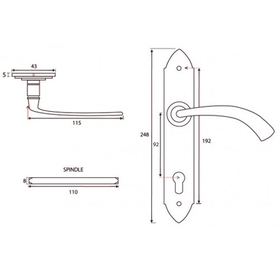 From The Anvil 33764 - Black Gothic Curved Espag Euro Lock Set