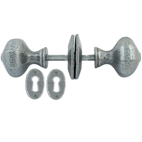 From The Anvil 33643 - Pewter Patina Octagonal Mortice Rim Knob Set