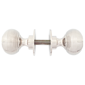 From The Anvil 83636H - Polished Nickel Beehive Heavy Mortice/Rim Knob Set