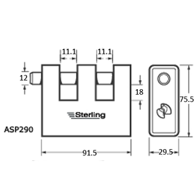 Sterling Locks ASP290 - Armoured Steel Double Slotted Shutter Lock