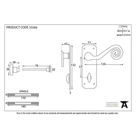 From The Anvil 33266 - Black Sprung Monkeytail Lever on Bathroom Backplate Set