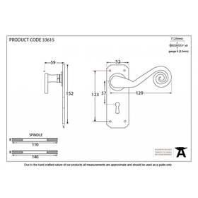 From The Anvil 33615 - Pewter Patina Sprung Monkeytail Lever Lock on Backplate Set