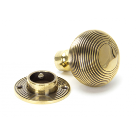 From The Anvil 83633 - Aged Brass Beehive Hollow Mortice/Rim Knob Set