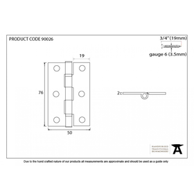 From The Anvil 90026 - Pewter 3 inch Ball Bearing Butt Hinge (pair)