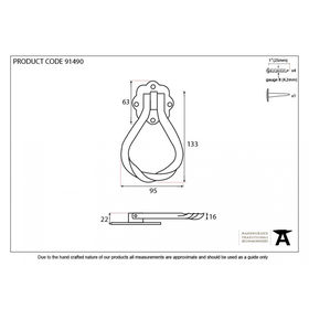 From The Anvil 91490 - External Beeswax Pear Shaped Door Knocker