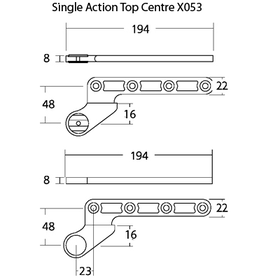 Exidor X053 - Floor Spring Single Action Top Centre 16mm