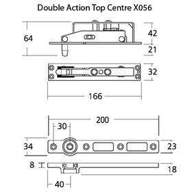 Exidor X056 - Floor Spring Double Action Top Centre