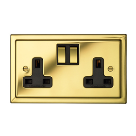 Wandsworth P2124 - Victorian Double Switched 3-Pin Socket Outlet Cover Plate Only