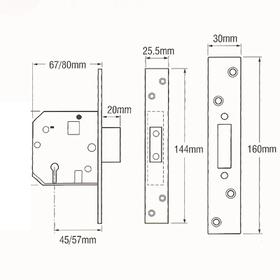 Yale PM562-PB-80 - PM562 British Standard 5-Lever Deadlock: 3 inch Polished Brass
