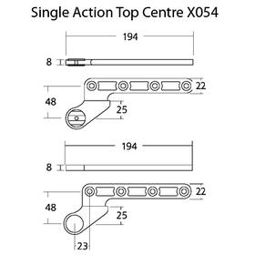 Exidor X054 - Floor Spring Single Action Top Centre 25mm
