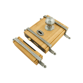 From The Anvil 33004 - Oak Box Lock with Pewter Patina Fittings